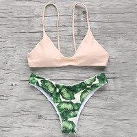 2016 Sexy Green Leaves Floral Printed Bandage Swimwear Triagnle Brazilian Swimsuit Micro Bikini Beachwear Bikini Set