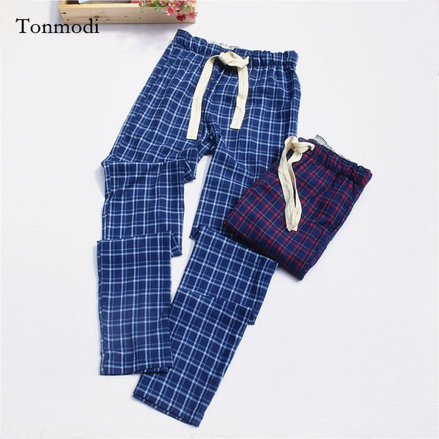 Pants for Men 100% slanting Stripe Cotton Cloth Pajama Pants Trousers Men Lounge Pants Plaid Sleep Bottoms