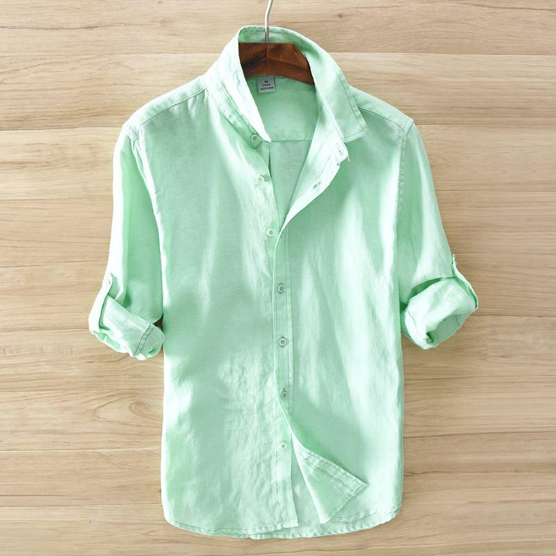 100% Linen Male Shirts 2019 New Mens Long Sleeve Linen Shirts Casual Solid Color Mens Shirts Lapel Mens Fashion Slim Tops S-3XL