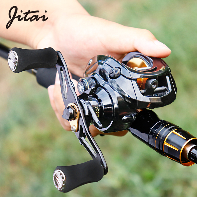 JITAI Baitcasting Reel Dual Brake System 10Kg Carbon Fiber Drag 7.0:1 High Speed Lightweight 204g Fishing Reel Fishing Wheels 1