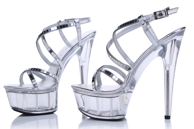Platform Sandals Summer Style 2015 Catwalk Shows Flash Piece of steel Pipe Shoes Sexy Ultra High Heels 15cm Transparent Sandals phone fan for android phones and devices with micro interface white