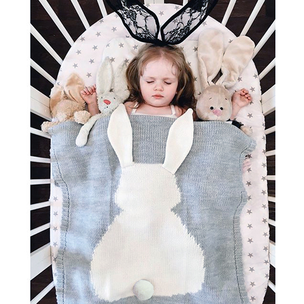Baby Blanket Cute Rabbit 75x105 cm Wrap Swaddle Bedding Soft Warm Knit Blankets Sleeping for Toddler Bath Towel Hand Bedspread все цены