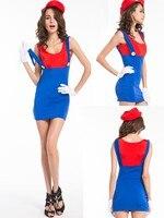 Gratis verzending Dames Super Mario Luigi Brothers Plumber Fancy Dress Up Party Kostuum + handschoenen