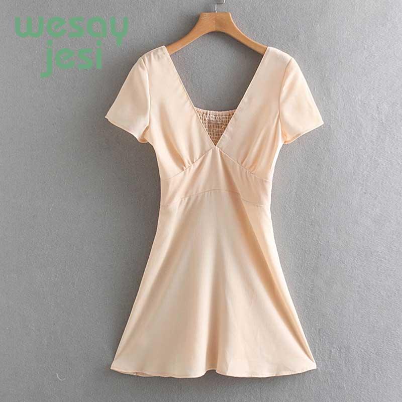 Dress Women Summer Pink Mini Dress Deep V-neck Short Sleeve Women Dress Elegant Elastic Waist Dresses
