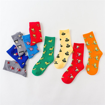 2020 Men Fashion Harajuku Comics Hero General Socks Cartoon Man Socks Captain America Knee-High Warm Stitching Pattern Sock ultimate comics captain america