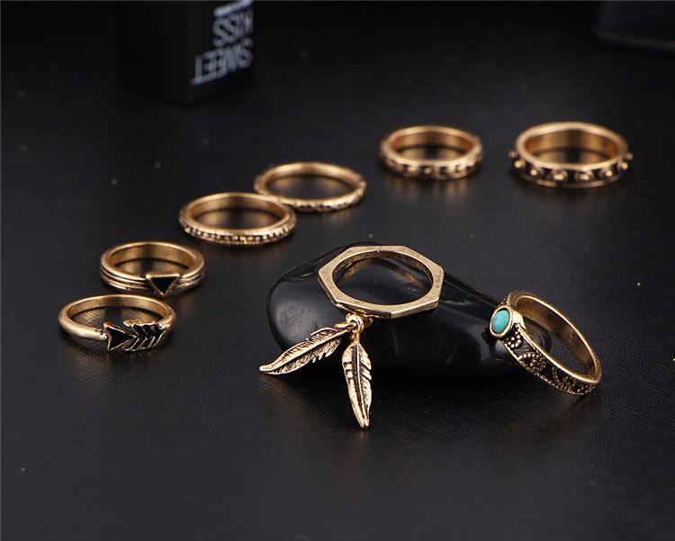 HTB1eE3TOFXXXXcRXFXXq6xXFXXXS Women 8-Pieces Gold Tone Retro Antique Punk Style Spirituality Lucky Knuckle Ring Set
