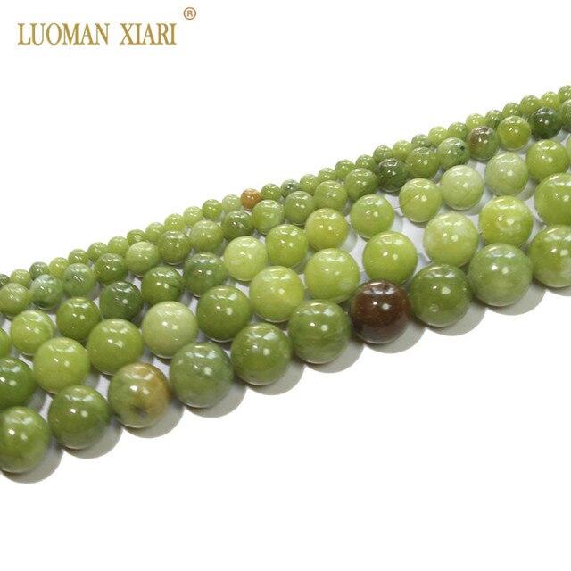 AAA 100% naturalne okrągły chiński koraliki jadeitowe kamień koraliki do tworzenia biżuterii bransoletka Zrób To Sam naszyjnik 4/6/8/10 /12mm Strand 15''
