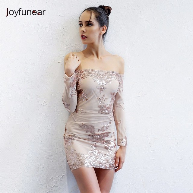 Joyfunear Autumn Sequin Dress Women Sexy V Neck Strapless Backless Mini Dresses  Elegant Bodycon Club Party 0dd0c3b2ac33