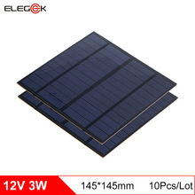 Elegeek 10 pçs/lote 3 w 12 v mini painel de célula solar policristalino pet painel solar para teste e sistema solar diy 145*145mm