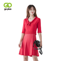 GOPLUS Sexy V Neck Knitted Sweater Dress Women Elegant Half Sleeve Pullover Ruffle Female Dresses Autumn Winter Casual Sweaters