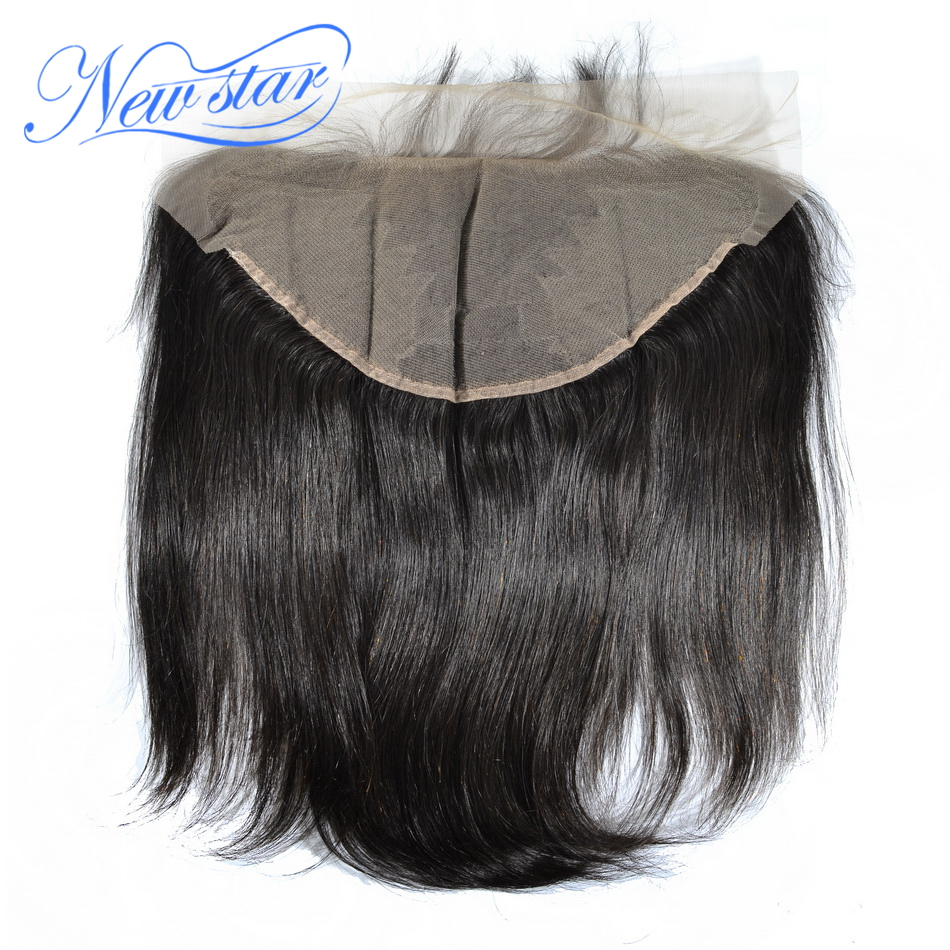 New Star Brazilian Straight Virgin Hair 13x6 Lace Frontal Closures 100% Human Hair Pre-Plucked Hairline With Baby Hair Closure