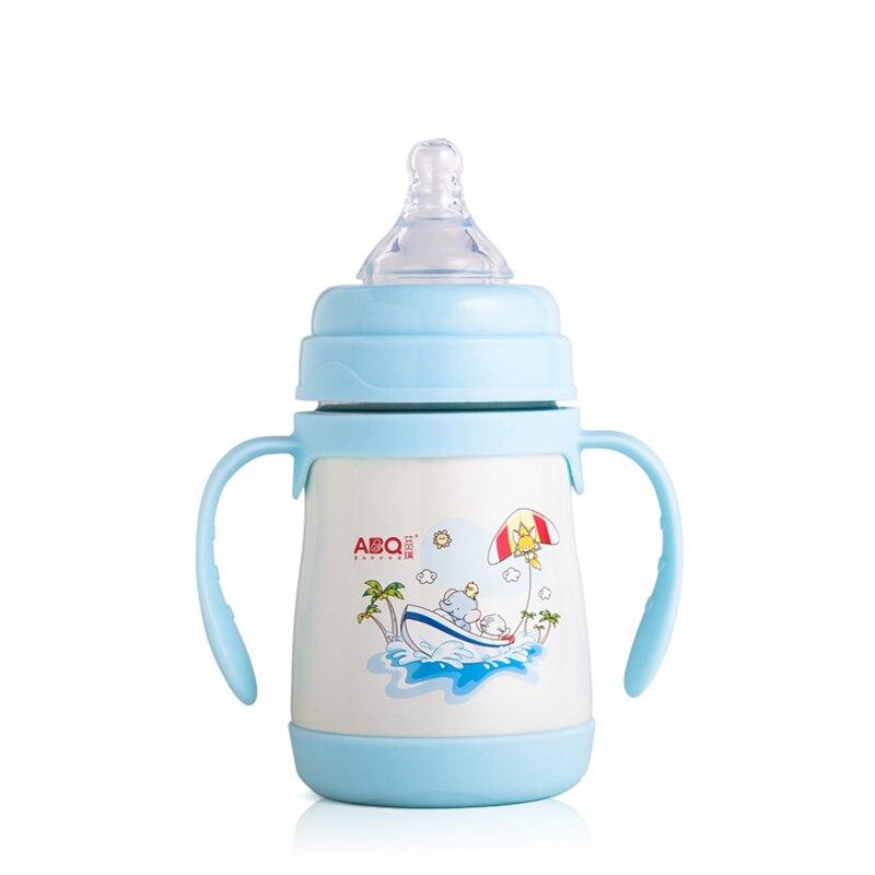 Купить с кэшбэком ABQ 240ML Baby Feeding Bottles With Straw Dust Cover Stainless Steel Cup Children's Drink Milk Bottle For Feeding Children