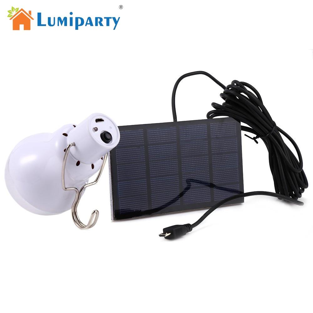 Lumiparty 15w Lámpara de bombilla LED portátil con energía solar Lámpara de energía solar iluminación led luz del panel solar Energía Solar Camping Light