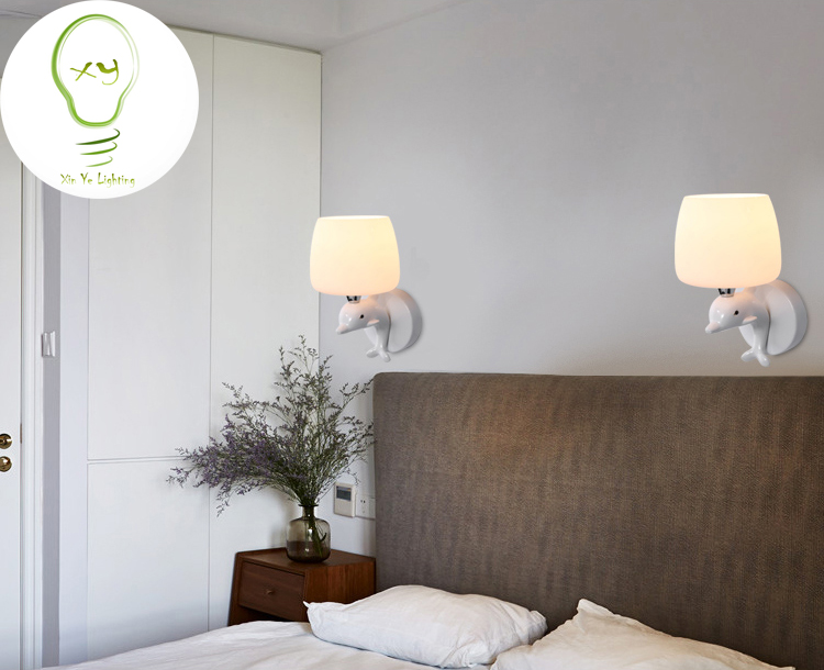 Moderna lampada da parete moda delfino creative art deco