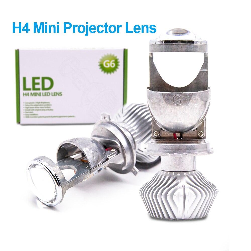2x H4 LHD LED Ampoules Sans Perte LED Conversion Kit Ampoule Lumière Lampe Salut/Lo Faisceau Phare avec Mini Projecteur lentille 12 V/24 V