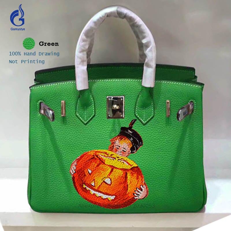 Gamystye Graffiti Hand Drawing Designer Bags Handbags Women Famous Brand Genuine Leather Crossbody Shoulder Bag High Capacity