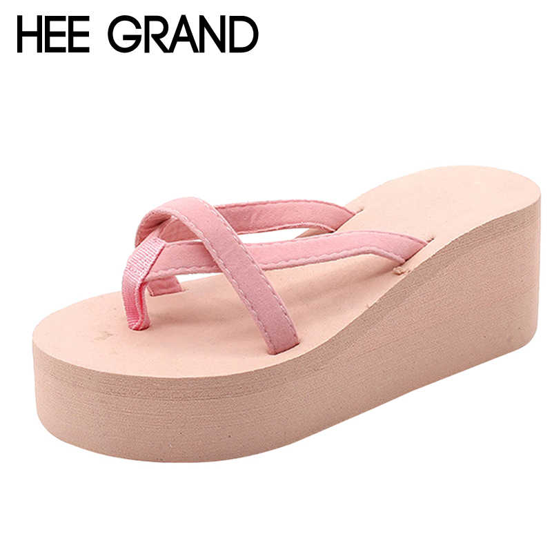 HEE GRAND 2018 Flip Flops Slippers Platform Gladiator Beach Slides Summer Casual Flats Shoes Woman Slip On Wedges Slides XWT1026