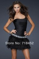 2014 Hot Sale Sexy Mini Sweetheart Beaded Feather Satin Knee Length Short Black And White Cocktail