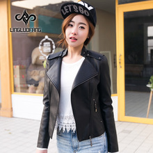 Leather jacket female 2016 New Arrival Autumn and Winter Korean Stand collar Temperament Slim  Plus Size Short Motorcycle Jacket