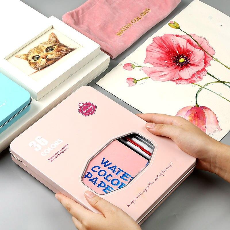 Ensemble de pigments aquarelle 36 couleurs aquarelle peinture étudiant peint à la main Portable peinture ensemble boîte de fer eau couleur art fournitures