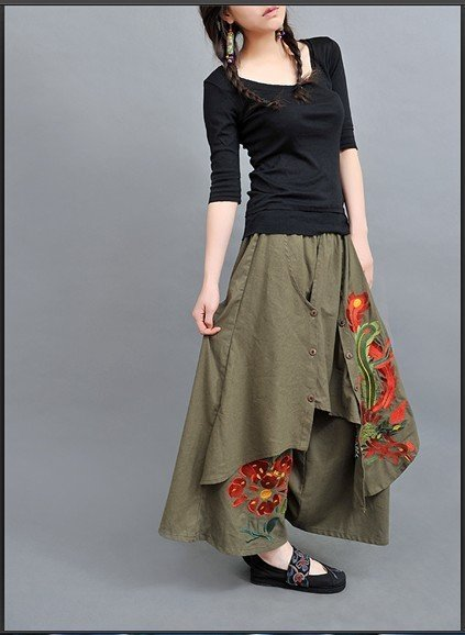 [DEMONSTYLE]Chinese folk style pants,women's dress style trousers