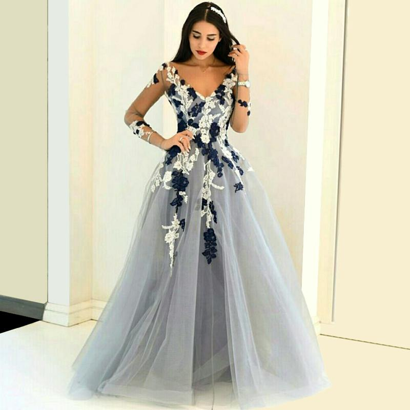Light Gray Tulle Prom Dress 2016 Sheer Long Sleeves Lace Applique Middle East Saudi Arabia Lady Party Gowns vestido de festa