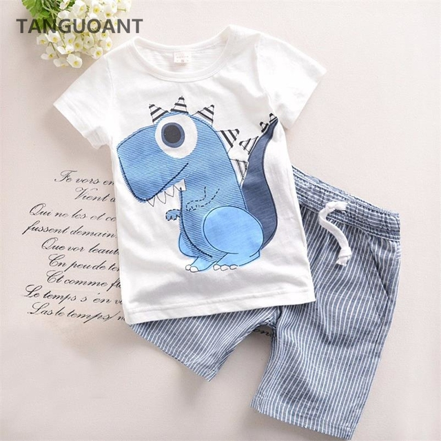 TANGUOANT Hot Sale Brand Boys Clothing Children Summer Boys Clothes Cartoon Kids Boy Clothing Set T-shit+Pants Cotton