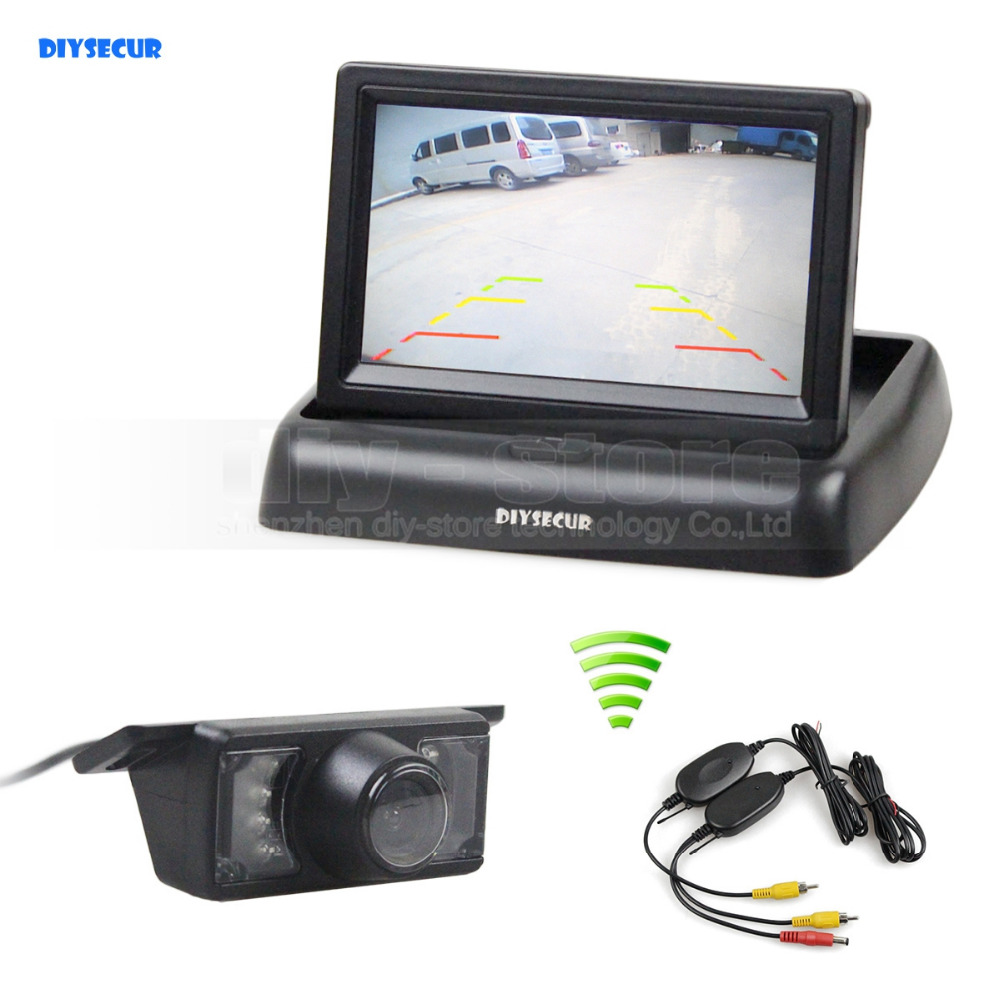 DIYSECUR Wireless Car Reversing Camera Kit Back Up 4 3inch Foldable Car Monitor LCD Display IR