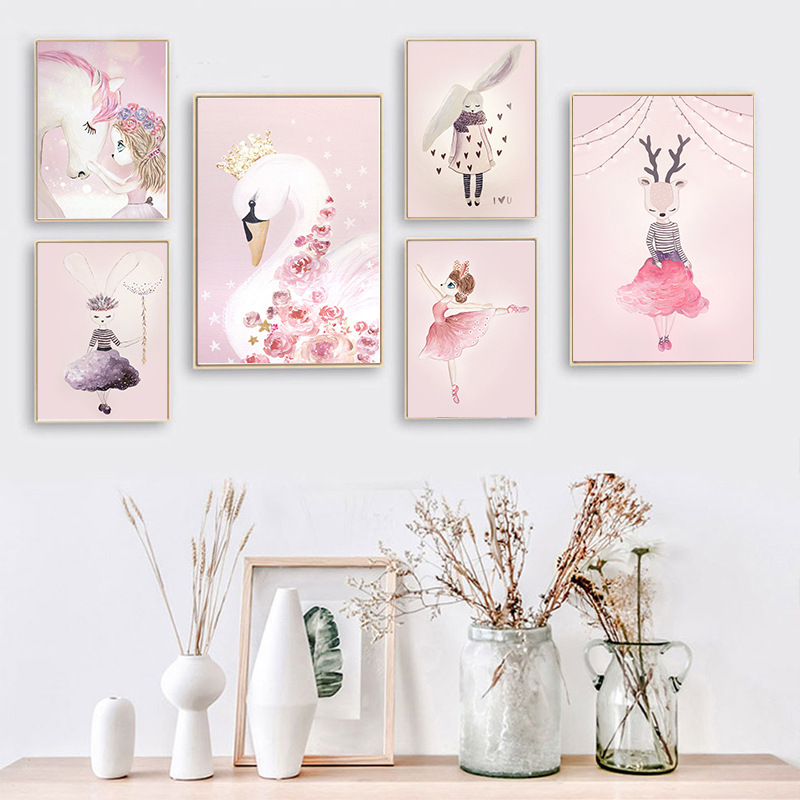 Nordic Decoration Wall Art Canvas Pictures for Living Room Anime Canvas Painting Print Unicorn Picture Pink Modern Home Decor
