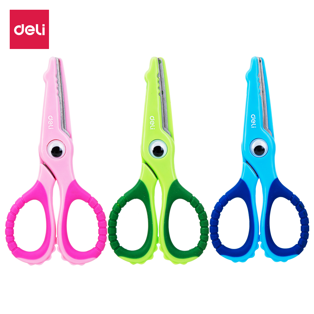 DELI School Scissors E6071 Soft-touch Croco 134mm Safe Scissor For Kids & Student Stationery Cute Hand Craft Scissors Paper
