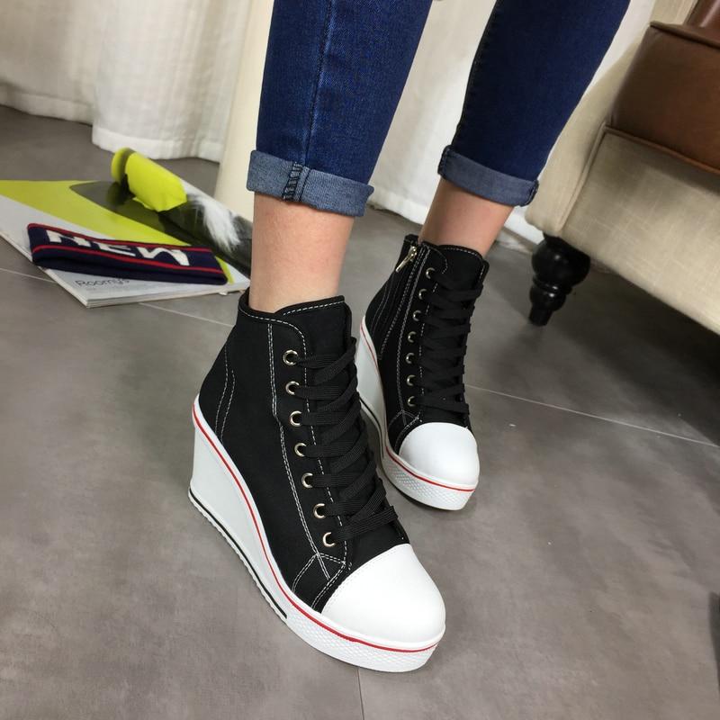 Envío gratis 2016 Insignia Cuñas High Lacing Casual elevador - Zapatos de mujer - foto 4