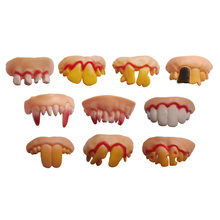 1 Pcs Practical Jokes Interesting Prank Horror Fun Shocker Novelty Gadgets Funny Denture Teeth Halloween Decoration Toys(China)