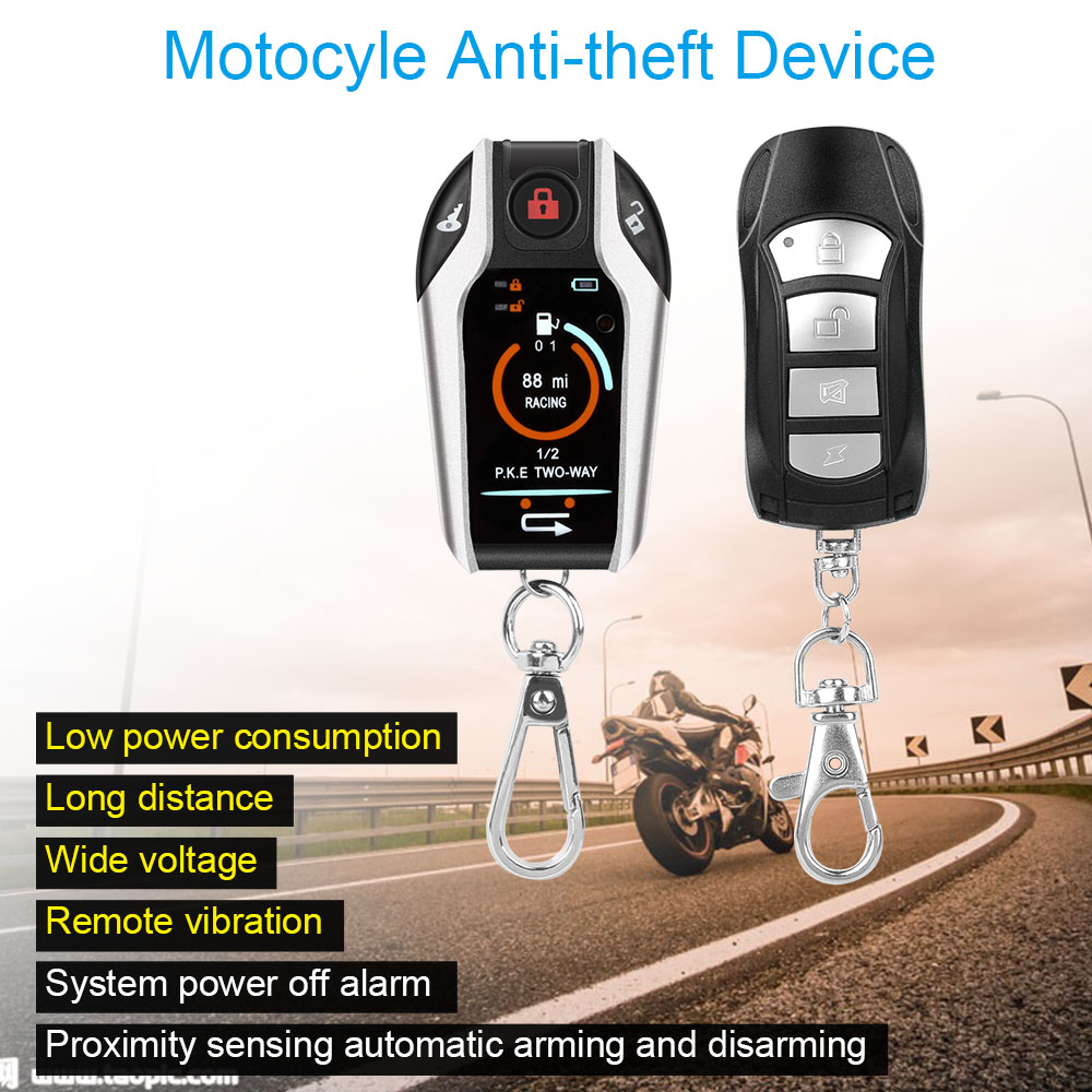 two way motorcycle alarm system motorbike anti-theft security protection vibration alarm remote control engine start easyguard pke car alarm system remote engine start stop shock sensor push button start stop window rise up automatically