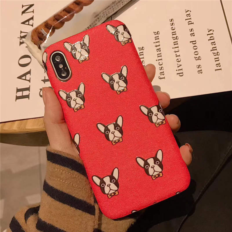 POEME CREATION New Years Gifts Phone Case for iphone 8 8plus 7 7plus 6 /6S Plus Cute Bulldog Red Soft Back Cover Case