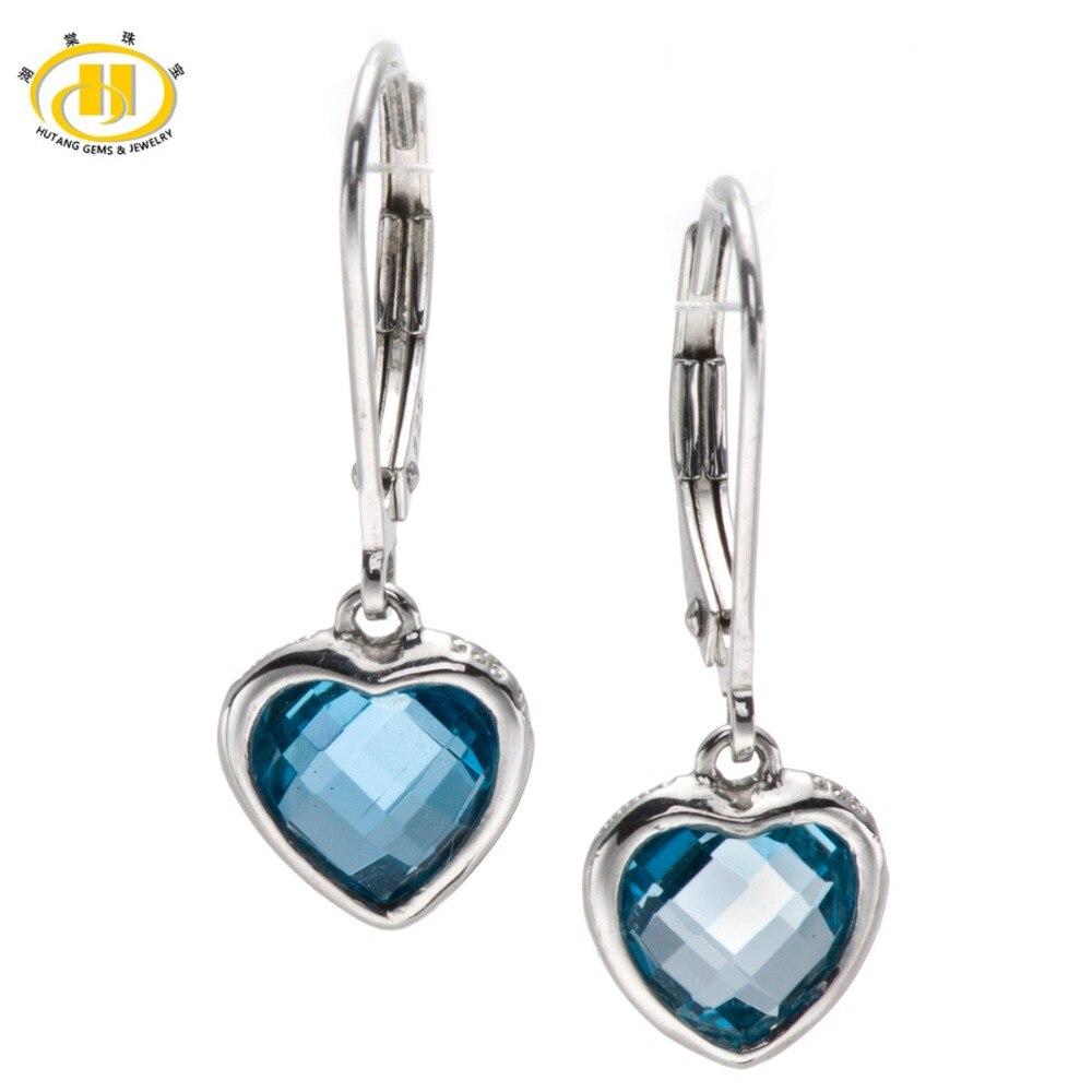 Hutang Real London Blue Topaz Gemstone 925 Sterling Silver Drop Dangle Heart Earrings Doble Side Checkerboard Cut Fine Jewelry