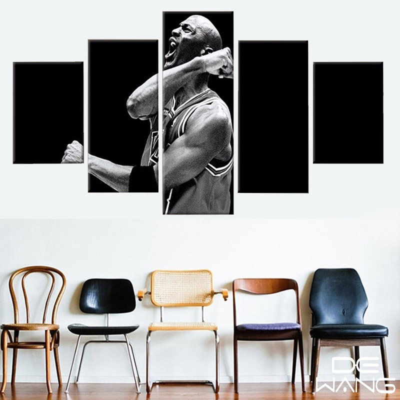 Modern Painting Canvas Basketball Wall Pictures Home Decor: 5 Pieces Basketball Professional Athletes Modern Home Wall