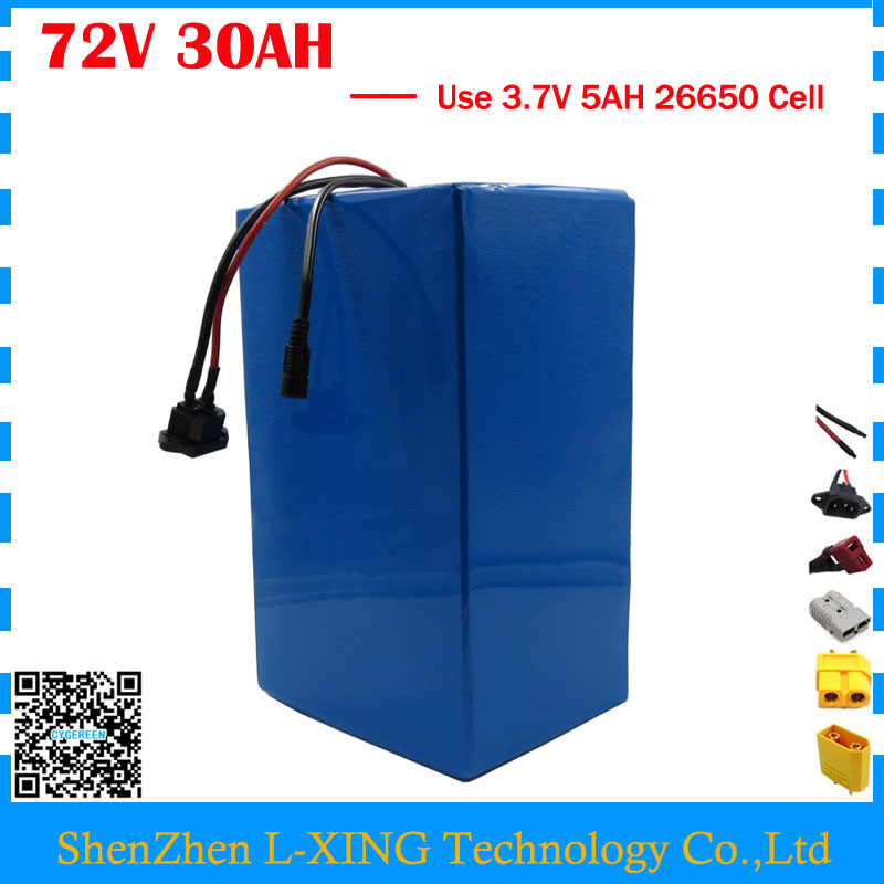 High quality 72V ebike battery 3000W 72V 30AH Lithium battery 3.7V 5AH 26650 Cell 50A BMS with 2A Charger Free customs tax free customs fee 1000w 36v 17 5ah battery pack 36 v lithium ion battery 18ah use samsung 3500mah cell 30a bms with 2a charger