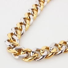 7-40 Choose High Polished Silver Gold 316L Stainless Steel 15MM Cuban Curb Link Chain Mens Necklace or Bracelet