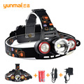 Waterproof 8000Lm Led Headlight T6 Xm-L+2LED Rechargeable Headlamp Flashlight Head Torch Linterna for Camping Running