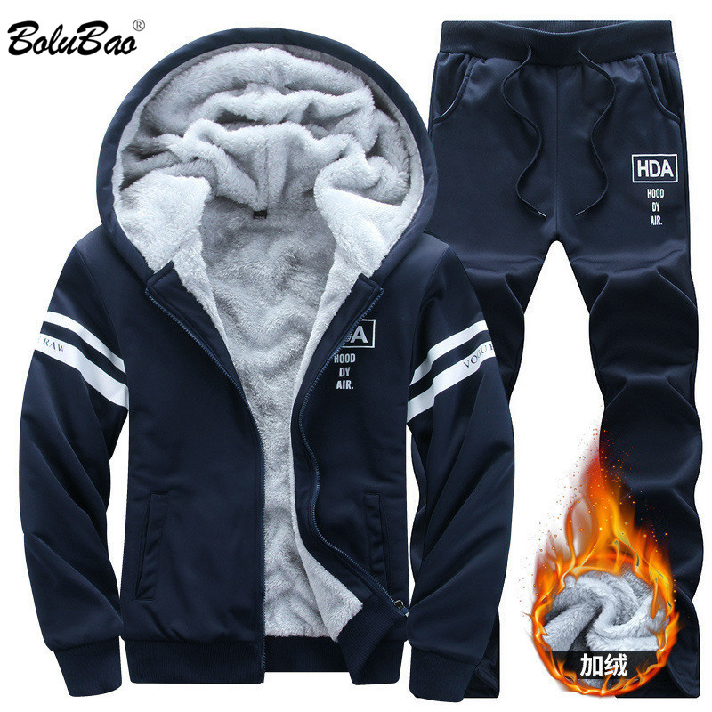 BOLUBAO New Winter Tracksuits Men Set Thicken Hoodies + Pants Suit Spring Sweatshirt Sportswear Set Male Hoodie Sporting Suits