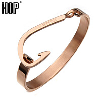 HIP Fashion Rose Gold Silver Black Fish Hook Open Cuff Bracelets 316L Stainless Steel Bangles For