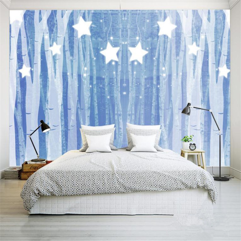 custom 3d effect photo wallpaper modern large stereo bedroom kid room sofa TV background purple star wall mural 3d wallpaper