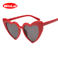 Winla Fashion Design Women Sun Glasses Unique Heart Shape Sunglasses Classic Butterfly Frame Shades Luxury Eyewear UV400 WL1205