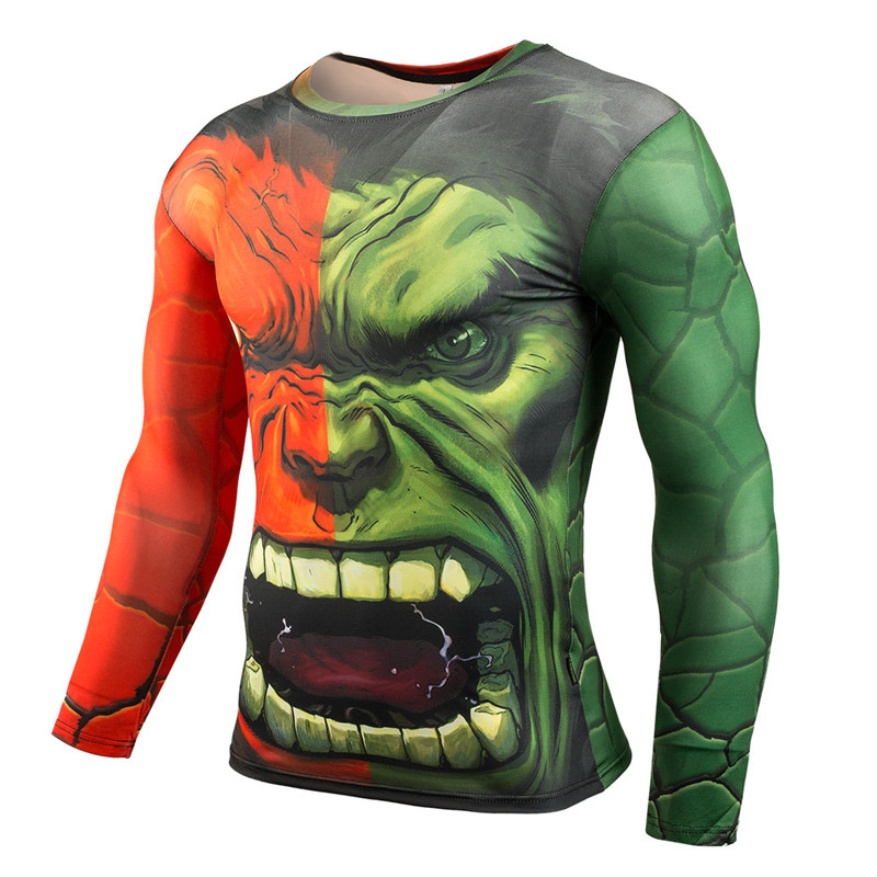 Incredible Hulk Cosplay Costumes Men Long Sleeve T-shirts Superhero 3D Captain America Compression Male Tops Iron Man Costumes