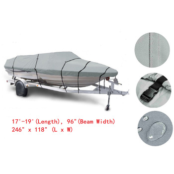 17-19ft 600D Oxford Fabric High Quality Waterproof Boat Cover with Storage Bag Gray