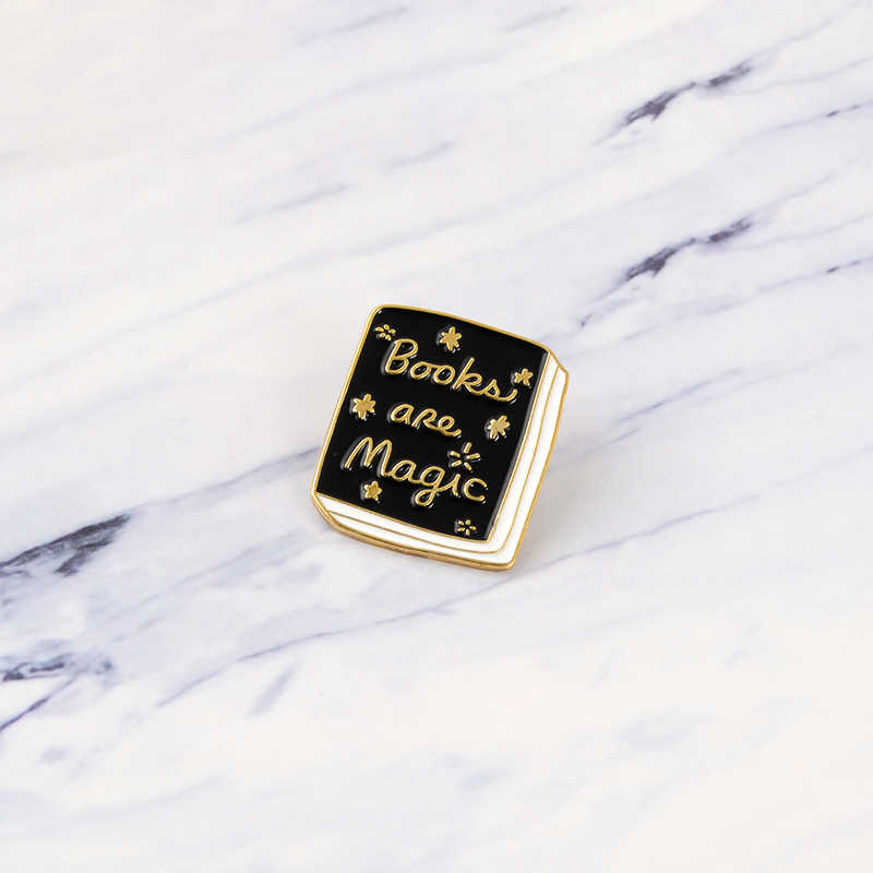 Books are Magic Enamel Brooches Reading Button Pins for clothes Badge Fashion Black Book Jewelry Gift for friends kids