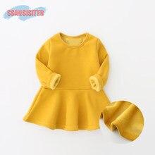20b4e906cfa611 Winter Baby Jurk Plus Fluwelen Pasgeborenen Baby baby Kleding Snoep Kleuren  Zachte Katoen Kostuum 0-