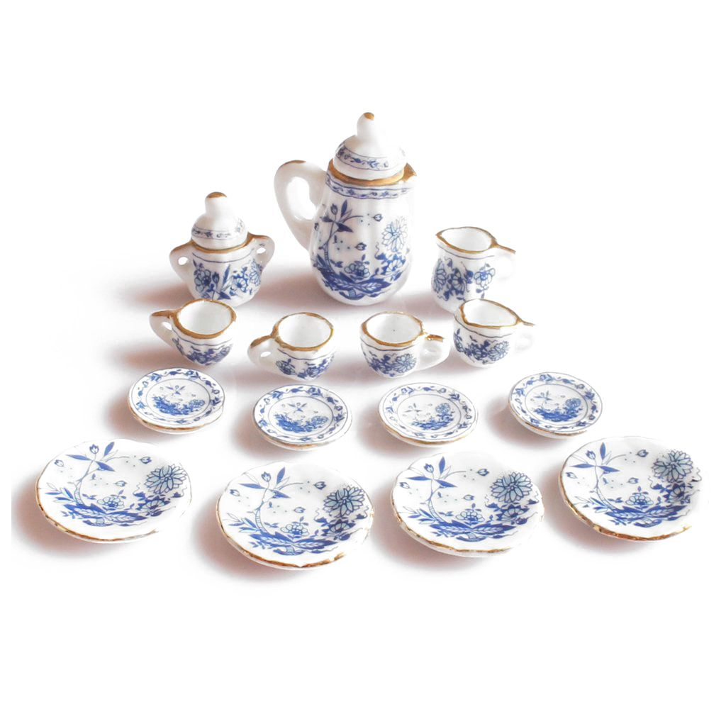 2018 New 1/12th Dining Ware China Ceramic Tea Set Dolls House Miniatures Blue Flower ...