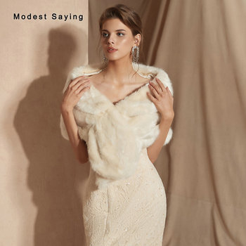 Cream Faux Fur Wedding Shrugs Bridal Shawls New Arrival 2019 Fashion Formal Women Party Stoles Warm Wraps Wedding Accessories
