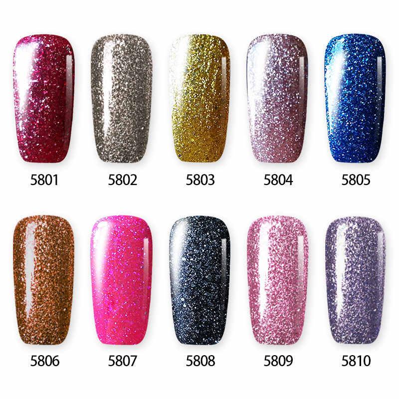 WiRinef 10 สี Super Shiny Platinum เล็บเจล Starry Glitter Effect Uv Led Lacquer Nail Art Bright เจล